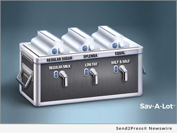 Sav-A-Lot milk and sugar dispenser
