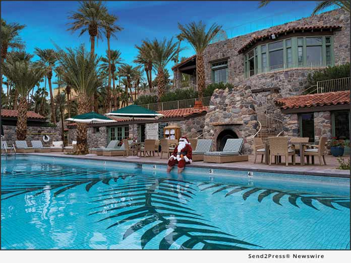 Santa relaxes at Oasis Death Valley pool