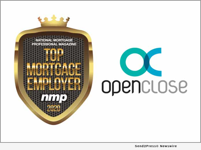 OpenClose Recognized as a 2020 Top Mortgage Employer