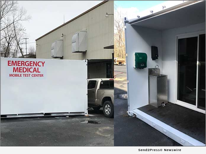 mobile testing unit converted from shipping container