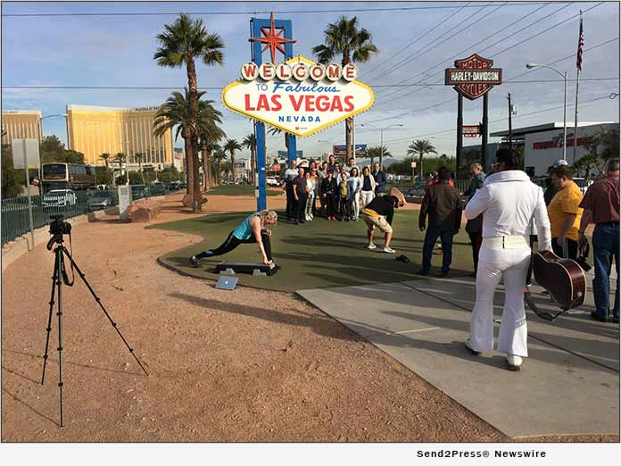 Filming Step and March at Las Vegas Sign