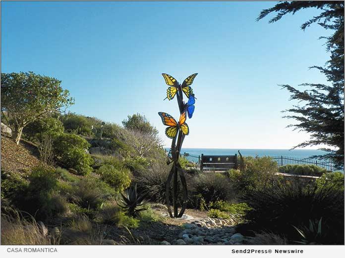 native garden and butterfly sculpture at Casa Romantica