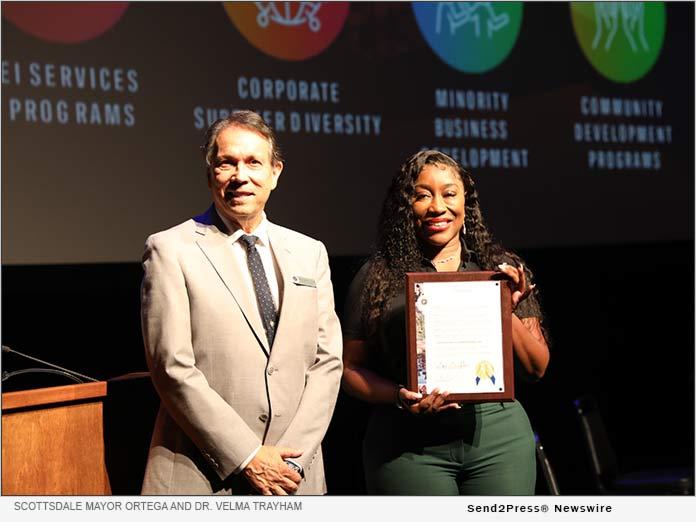 Dr. Velma Trayham and Scottsdale Mayor Ortega